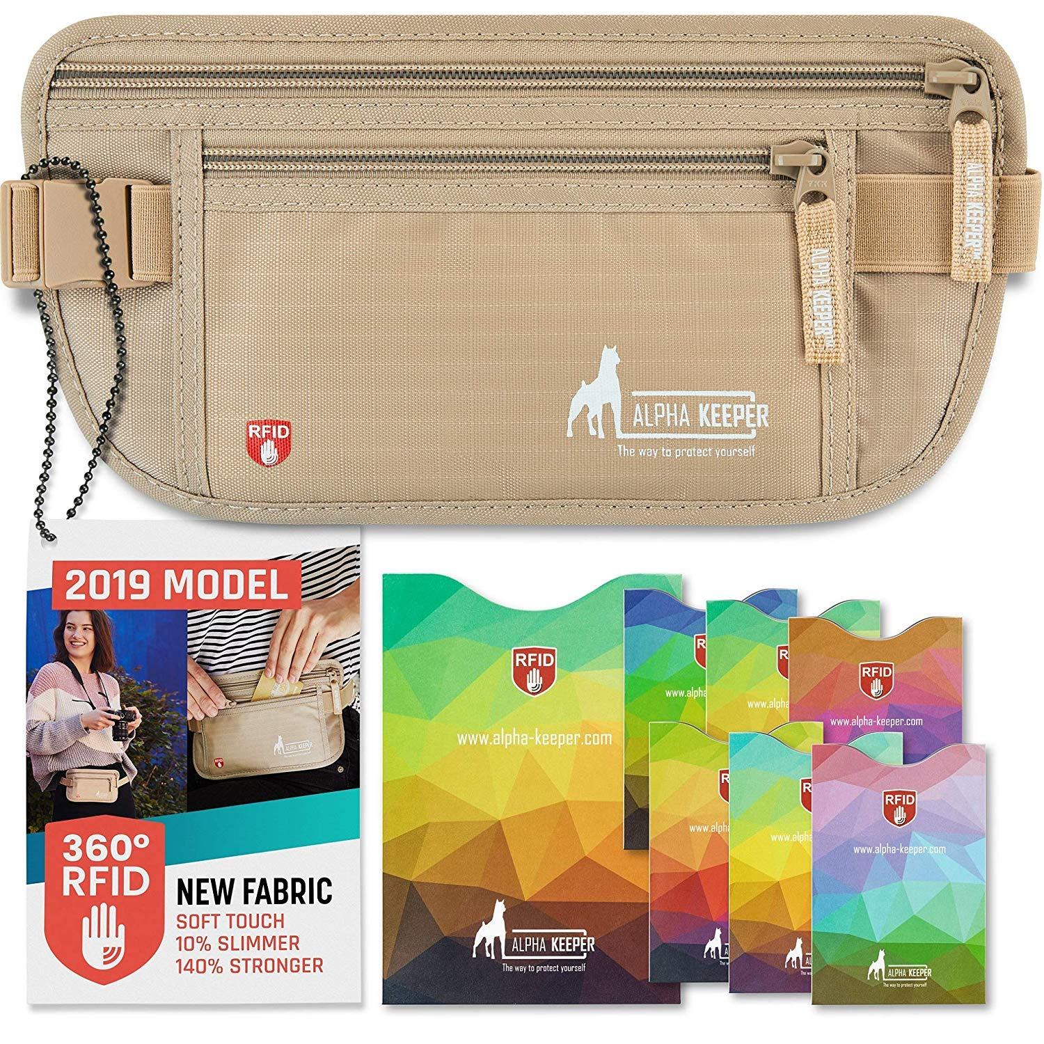 2fb12a2a6178 Amazon.com: RFID Money Belt For Travel With RFID Blocking Sleeves Set For  Daily Use [2019 NEW MODEL]: Sports & Outdoors