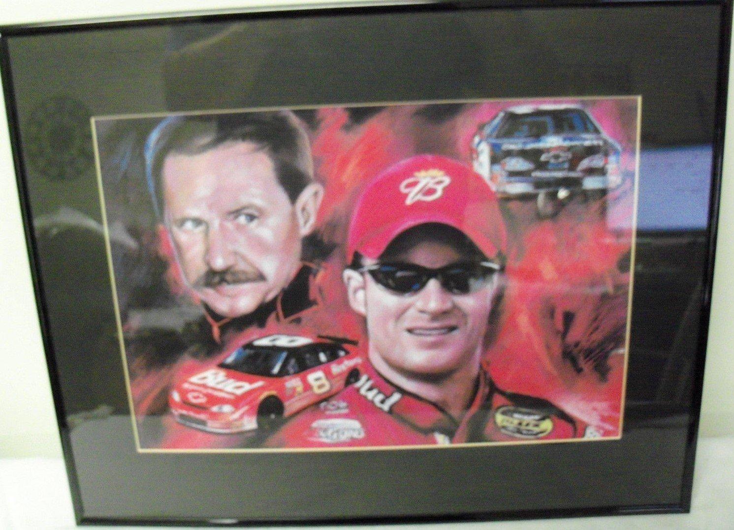 印刷featuring Dale Earnhardt Sr and Dale Earnhardt Jr With JrのルーキーBudweiser車SR ' # 3 GM Goodwrench Matted 16