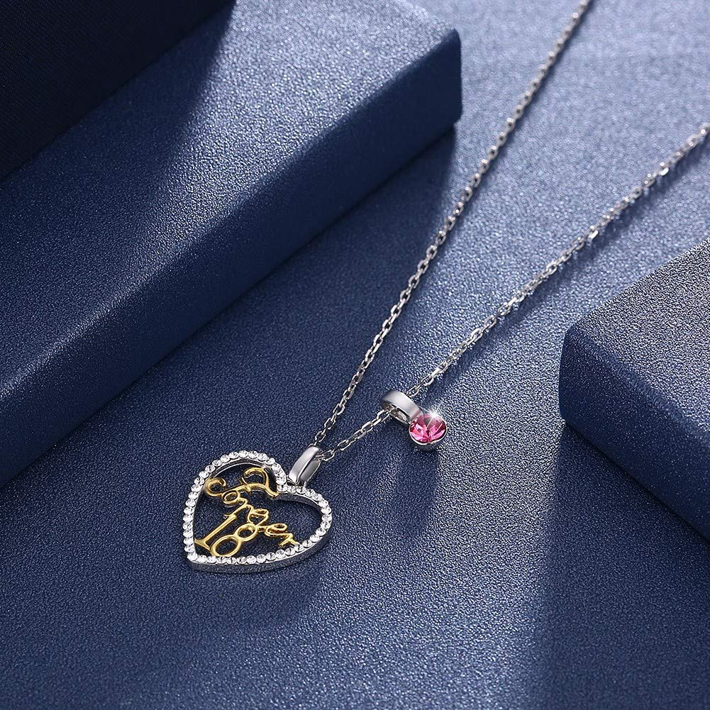 Forever18 Pendant Necklace myazs8580 LEKANI Crystals from Swarovski S925 Sterling Silver Variety wear Heart Forever18