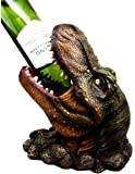"Atlantic Collectibles Prehistoric Dinosaur T-Rex Head 10.75"" Tall Wine Bottle Holder Caddy Figurine"