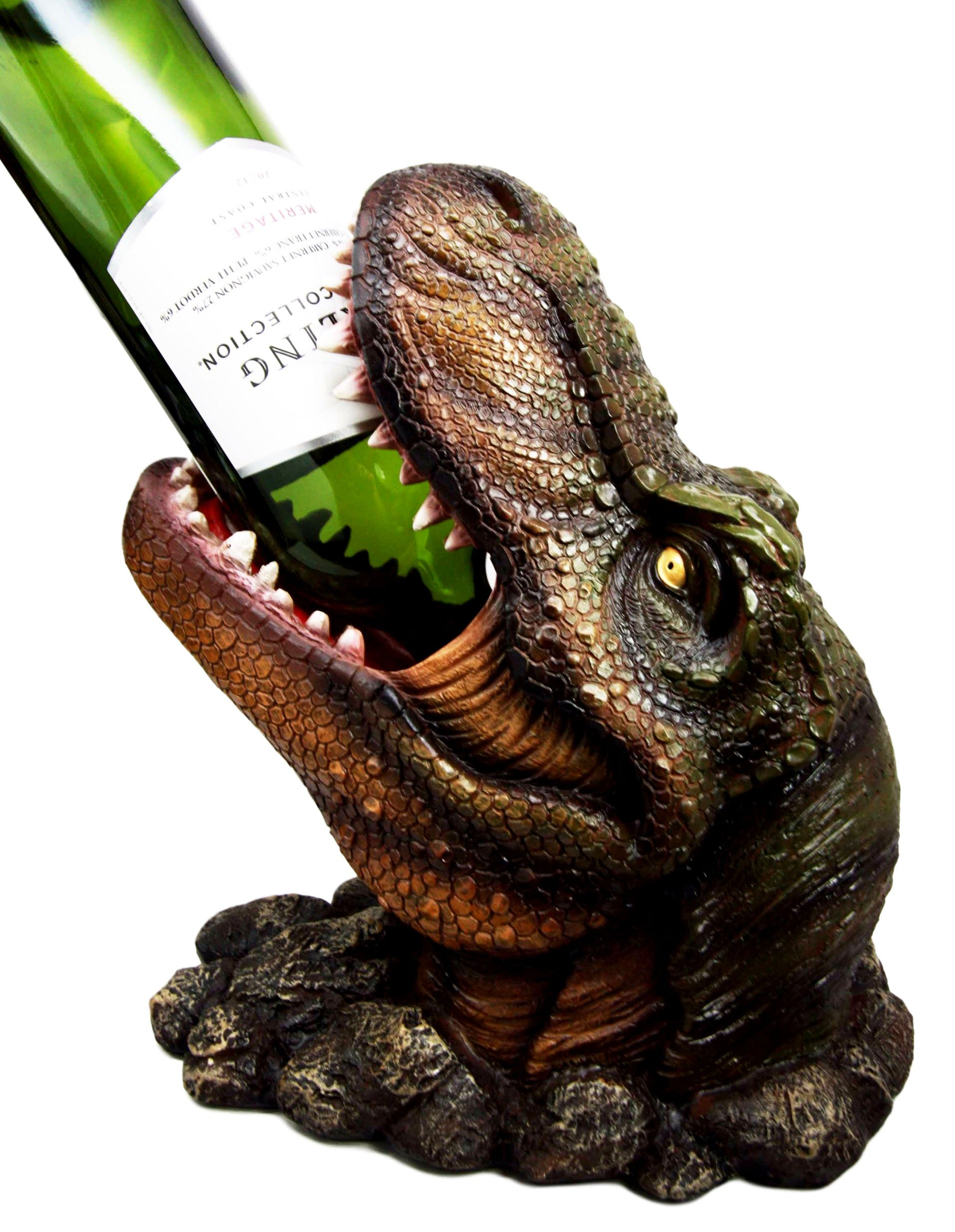 Atlantic Collectibles Prehistoric Dinosaur T-Rex Head 10.75'' Tall Wine Bottle Holder Caddy Figurine