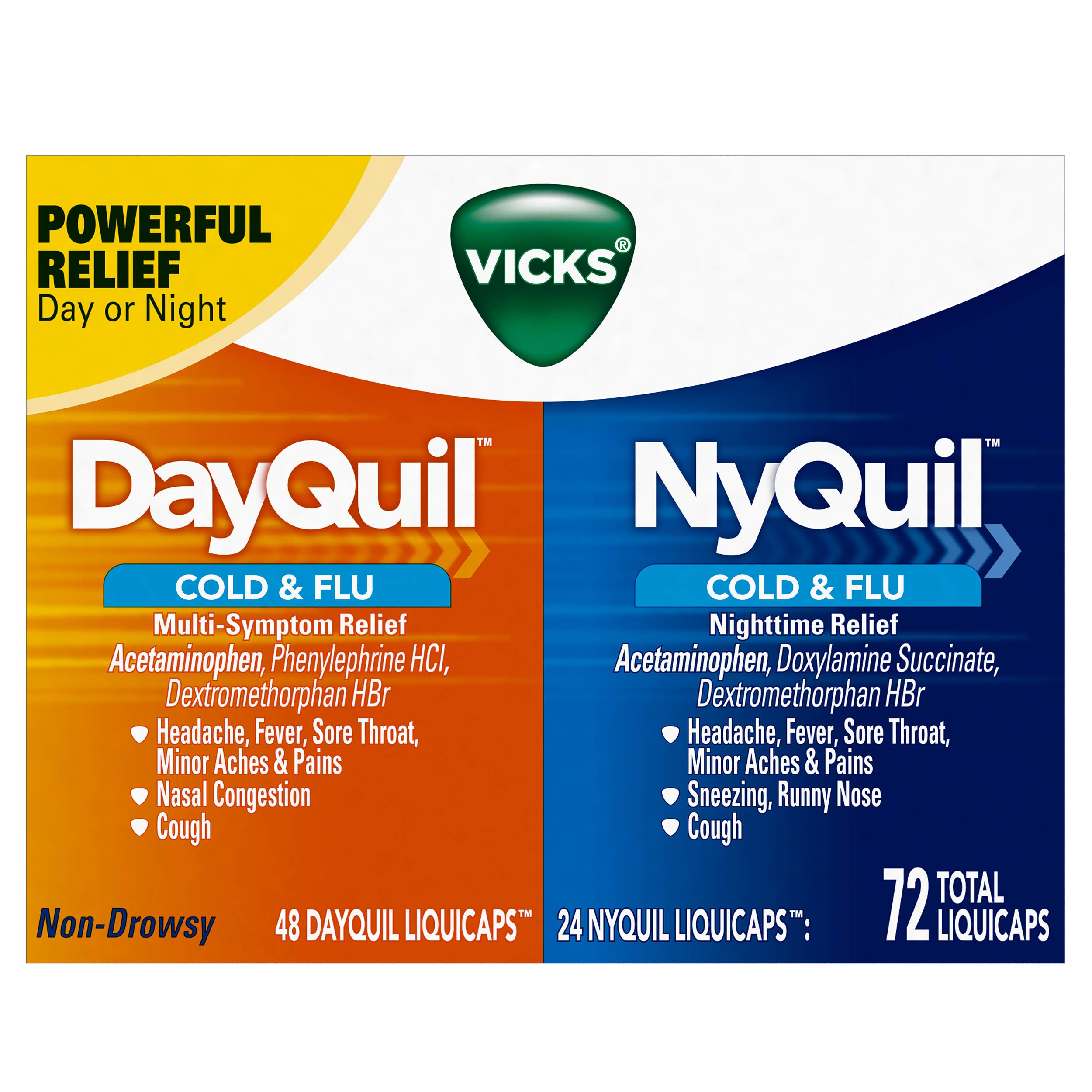 Vicks Dayquil & Nyquil Cough, Cold & Flu Relief Combo,liquicaps,  72 Count (48 Dayquil, 24 Nyquil) - Relieves Sore Throat, Fever, & Congestion by Vicks