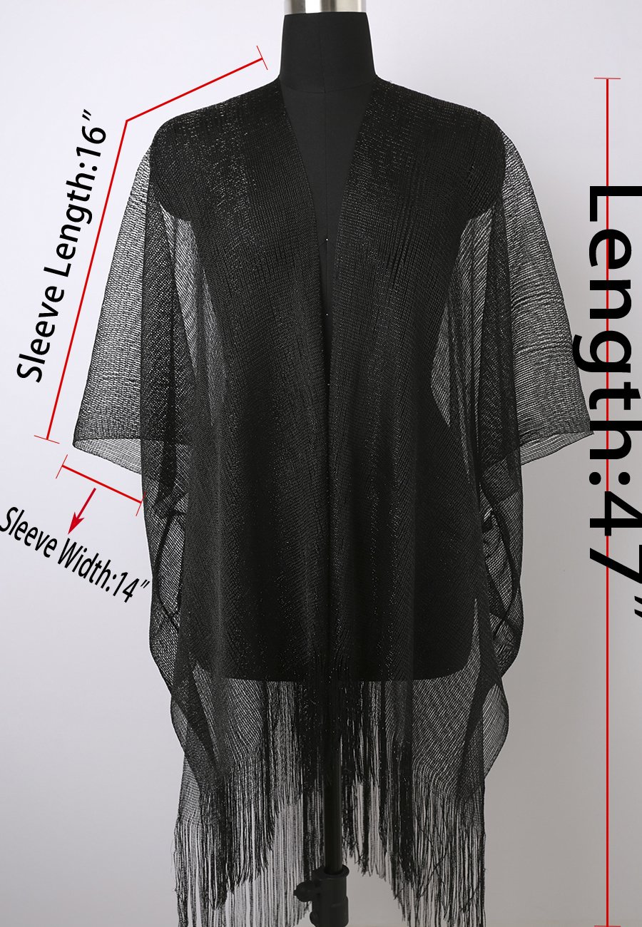MissShorthair Womens Glitter Open Front Cardigans Sheer Metallic Long Kimono with Tassel by MissShorthair (Image #7)