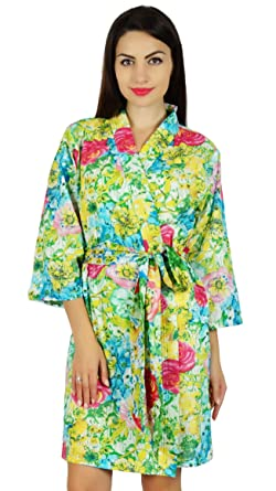 106d696c95 Bimba Women Floral Print Short Cotton Robe Getting Ready Wrap Coverup  Bridesmaid Bride Gift
