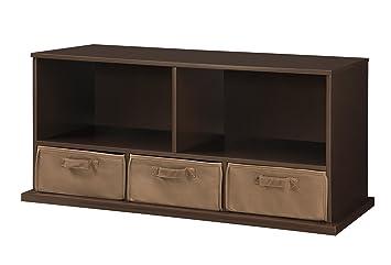 Delicieux Badger Basket Shelf Storage Cubby With Three Baskets, Espresso