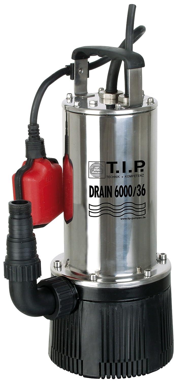 T.I.P. 30136 Tauchdruckpumpe Drain 6000/36 (950 W, max. 6.000 l/h, 34m Förderhöhe, Fremdkörper bis 2 mm, Stufenlos höhenverstellbarer Schwimmerschalter)