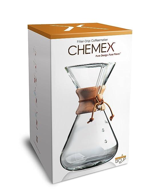 Capacidad 1.9L Vidrio soplado a Mano Cafetera de Filtro Manual de 13 Tazas Chemex Hand Blown CM-4