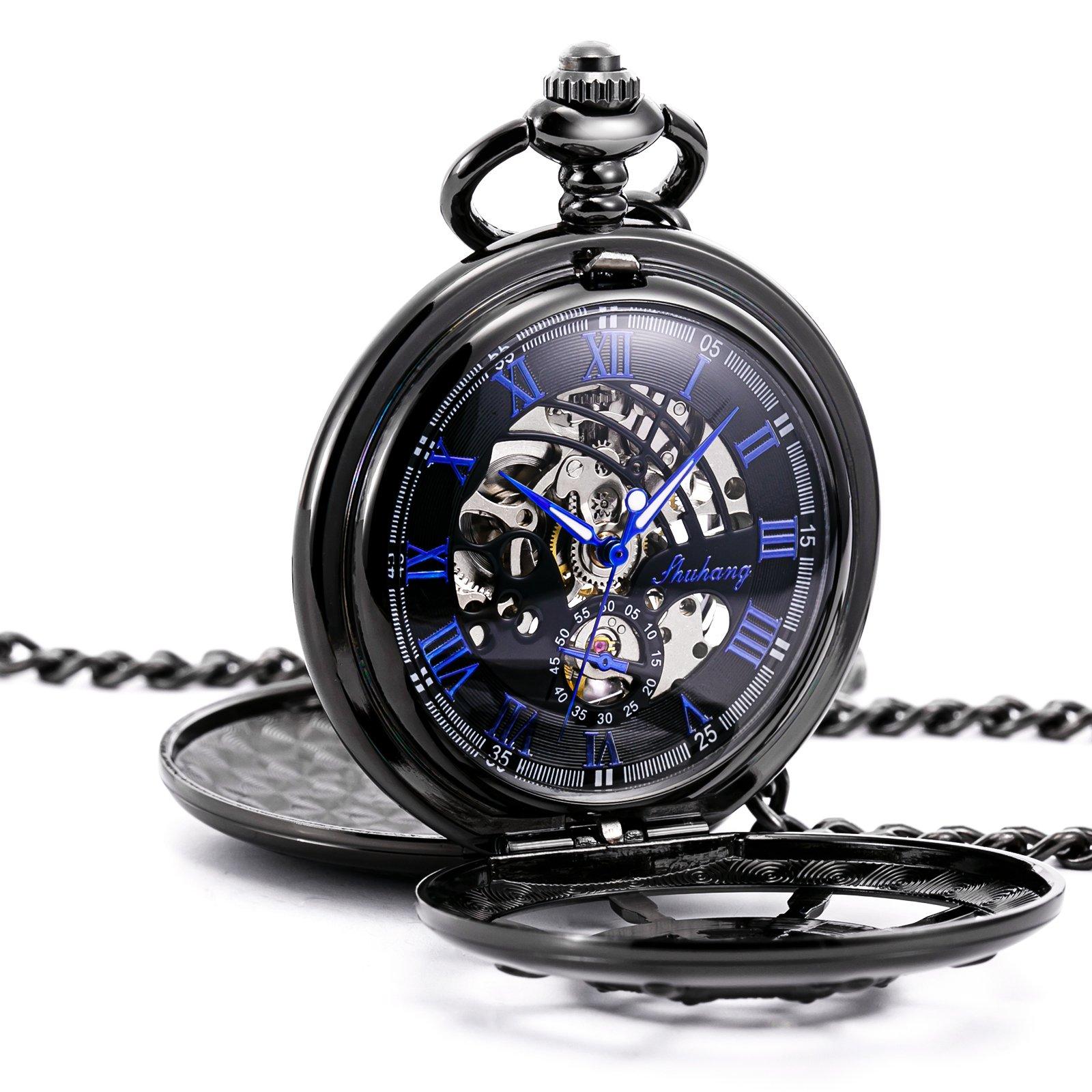 TREEWETO Black Double Cover Roman Numerals Dial Skeleton Mens Women Pocket Watch
