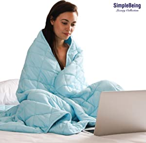 Simple Being Weighted Blanket, 60x80 15lb, Patented 9 Layers Design, Cooling Cotton, Adult Heavy Calming Blanket, Sky Blue