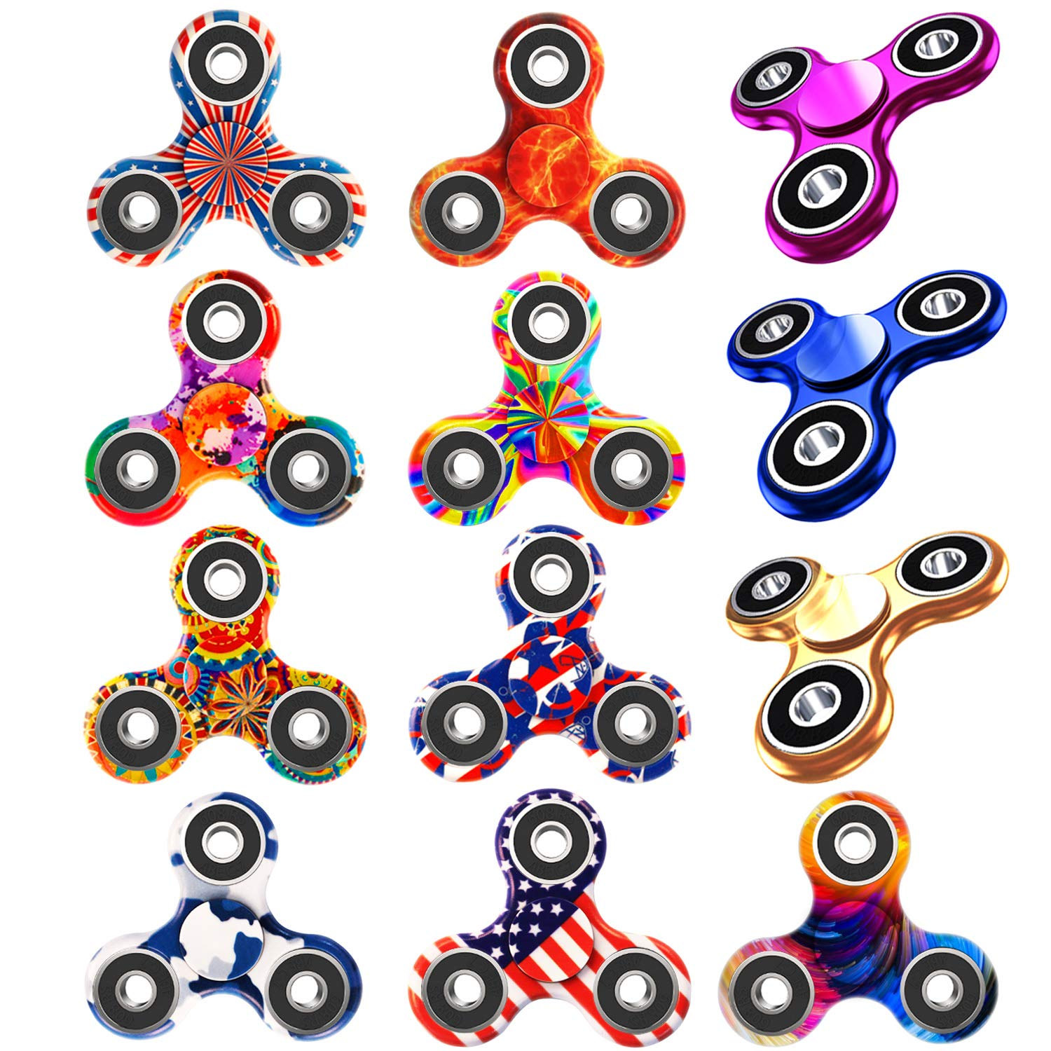 Owen Kyne 12 Pack Fidget Spinner, EDC Hand Tri-Spinner Fidget Stress Relief Toys for Adults and Kids, All-in-one Design 2-3 Min Spins,Relieves Your ADD ADHD Autism