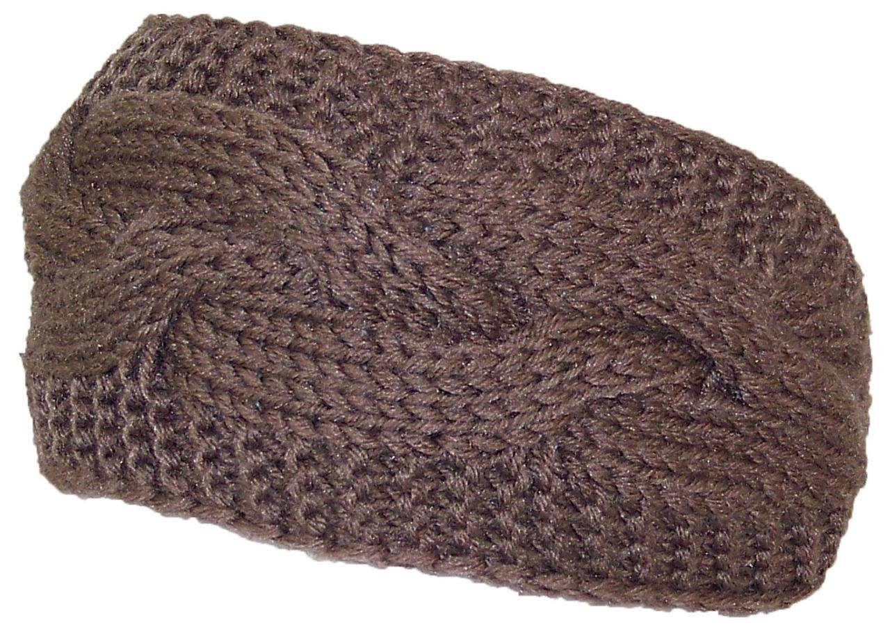 Best Winter Hats Solid Color Cable & Garter Stitch Knit Headband (One Size)