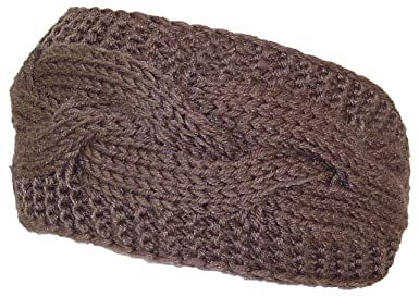 6c4656f0b Best Winter Hats Solid Color Cable & Garter Stitch Knit Headband (One Size)