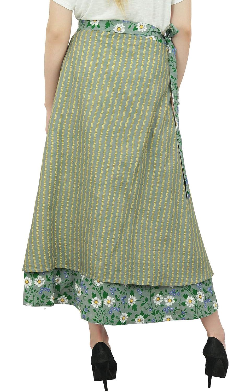f476a470ab69 Phagun vêtements dété réversible à imprimé Floral Coton Jupe Wrap