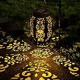 LeiDrail Solar Lantern Outdoor Garden Hanging Lanterns LED Light Metal Decorative Warm White Waterproof Landscape…