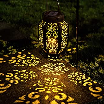 LeiDrail Solar Lantern Outdoor Garden Hanging Lanterns LED Light Metal Decorative Warm White Waterproof Landscape Lighting for Table Pathway Party Yard - 1Pack