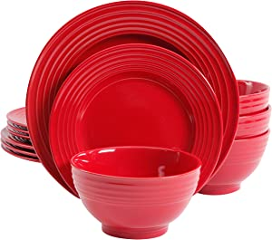 Gibson Home Plaza Cafe 12 Pc Red Dinnerware Set, 1