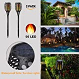 Solar Lights Outdoor Wireless Solar Powered LED Flickering Flame Lights | Path Lights | Easy Install Waterproof Security Landscape Lighting for Garden Patio Yard Party - 2 Pack