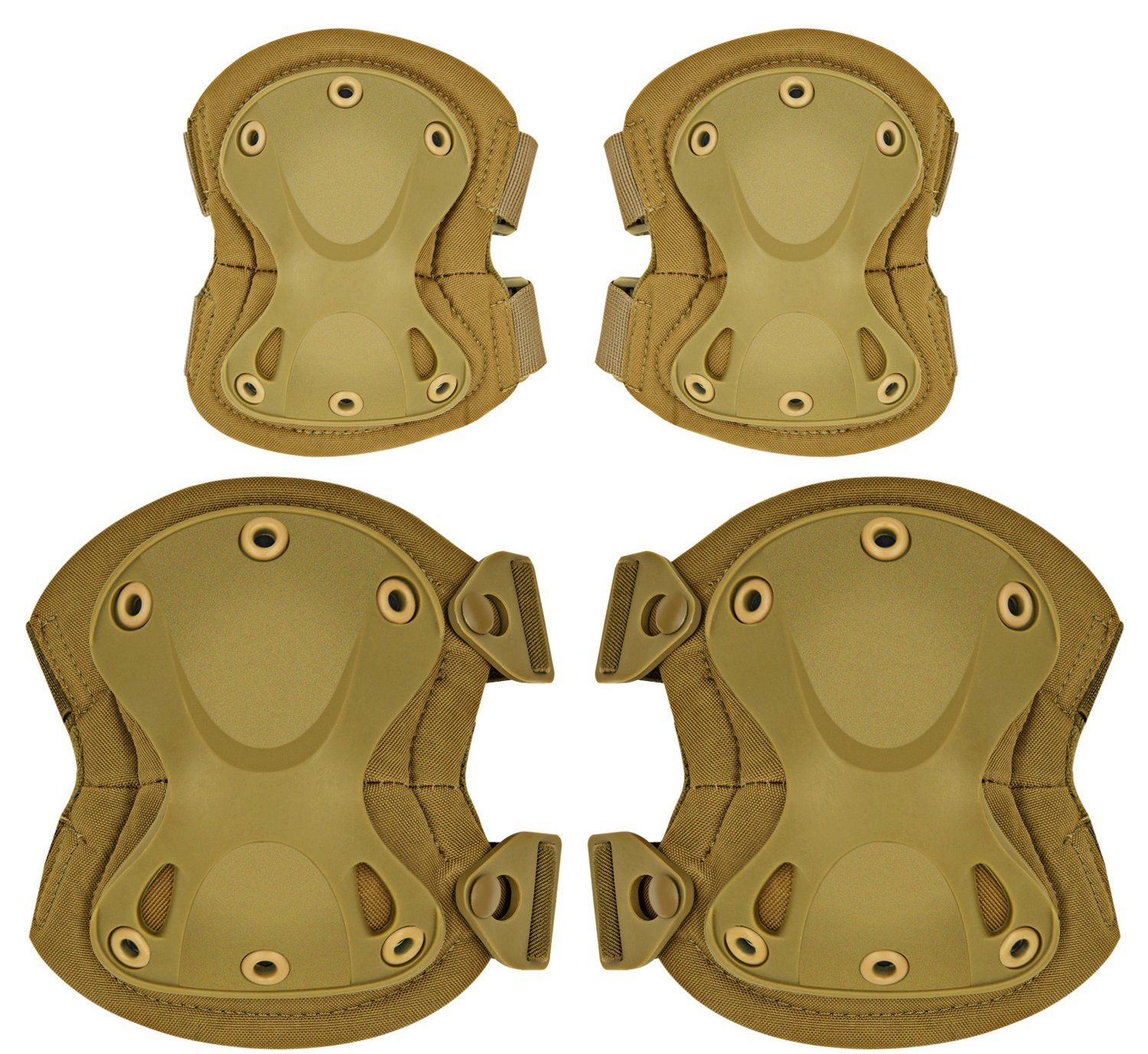 ArcEnCiel Tactical Combat Knee & Elbow Protective Pads Guard Set (Tan)