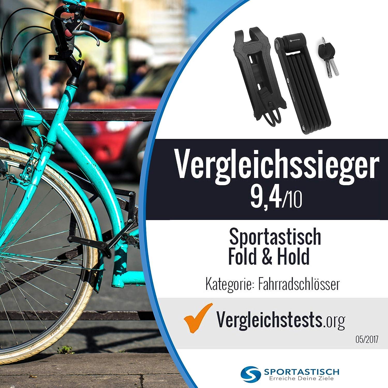 Sportastisch Top¹ Candado de bicicleta Fold & Hold con llaves y soporte | Cerradura bici plegable & dura con alta seguridad | Bloqueo antirrobo para ...