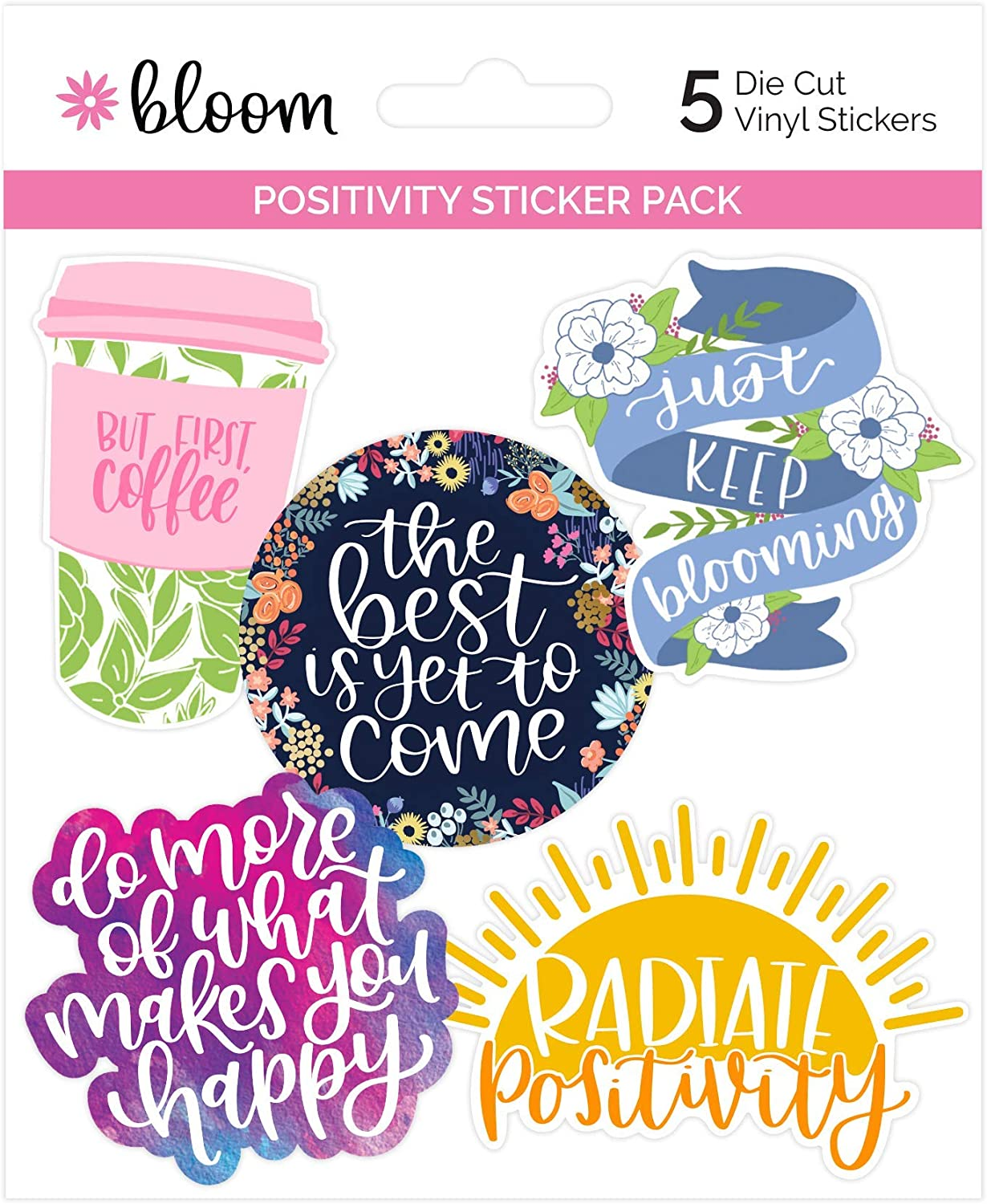 bloom daily planners Vinyl Sticker Set - 5 Colorful, Hand-Drawn Decals for Laptops, Water Bottles & More! (~3.5