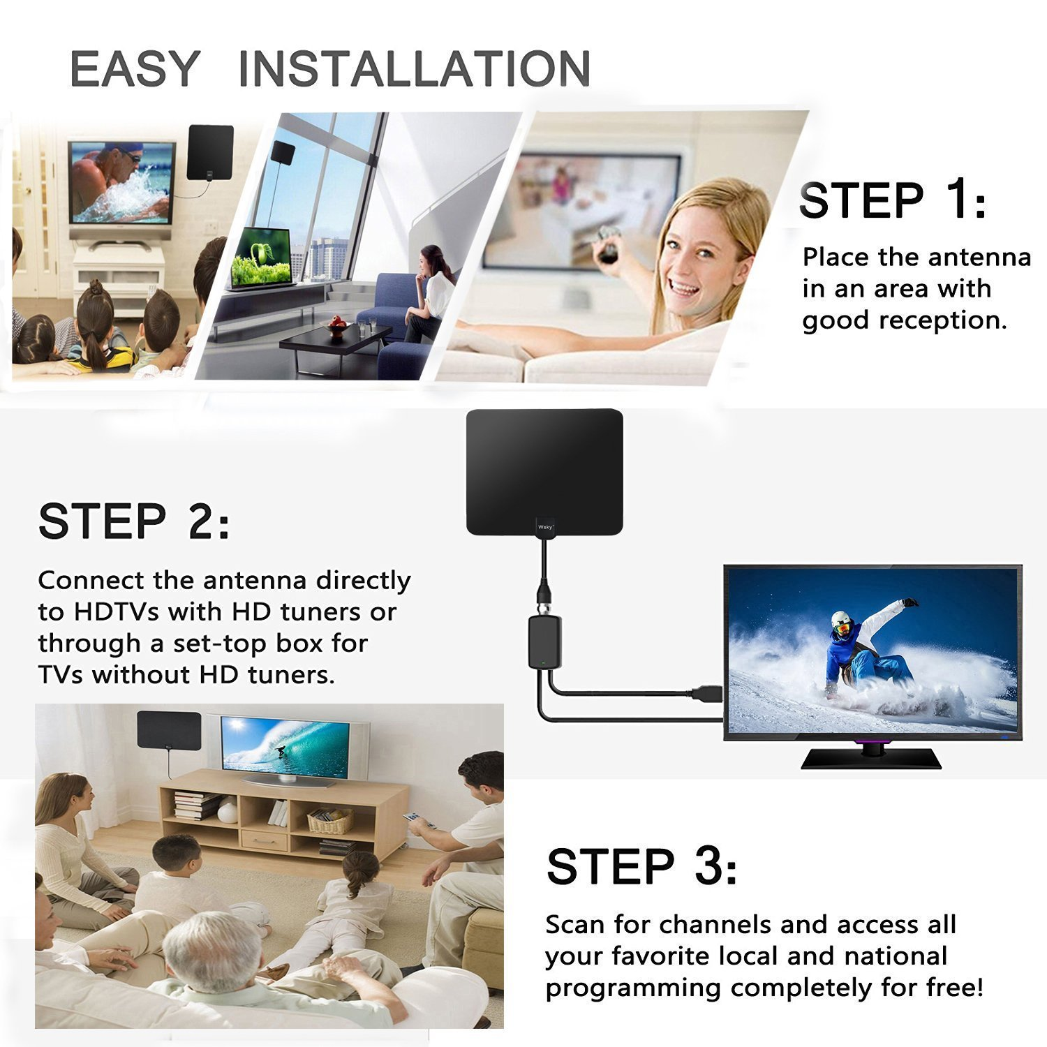 [NEWEST 2018] Wsky TV Antenna, 50-80 Long Miles Amplified HD Digital TV Antenna – Support 4K 1080p & All Older TV's for Indoor with Powerful HDTV Amplifier Signal Booster - Long Coax Cable by Wsky (Image #4)