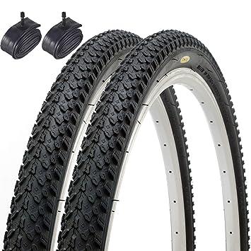 Fincci Par híbrida neumáticos de Bicicleta de montaña Cubiertas 26 x 2,125 57-559 y Schrader Tubos Interiores: Amazon.es: Deportes y aire libre