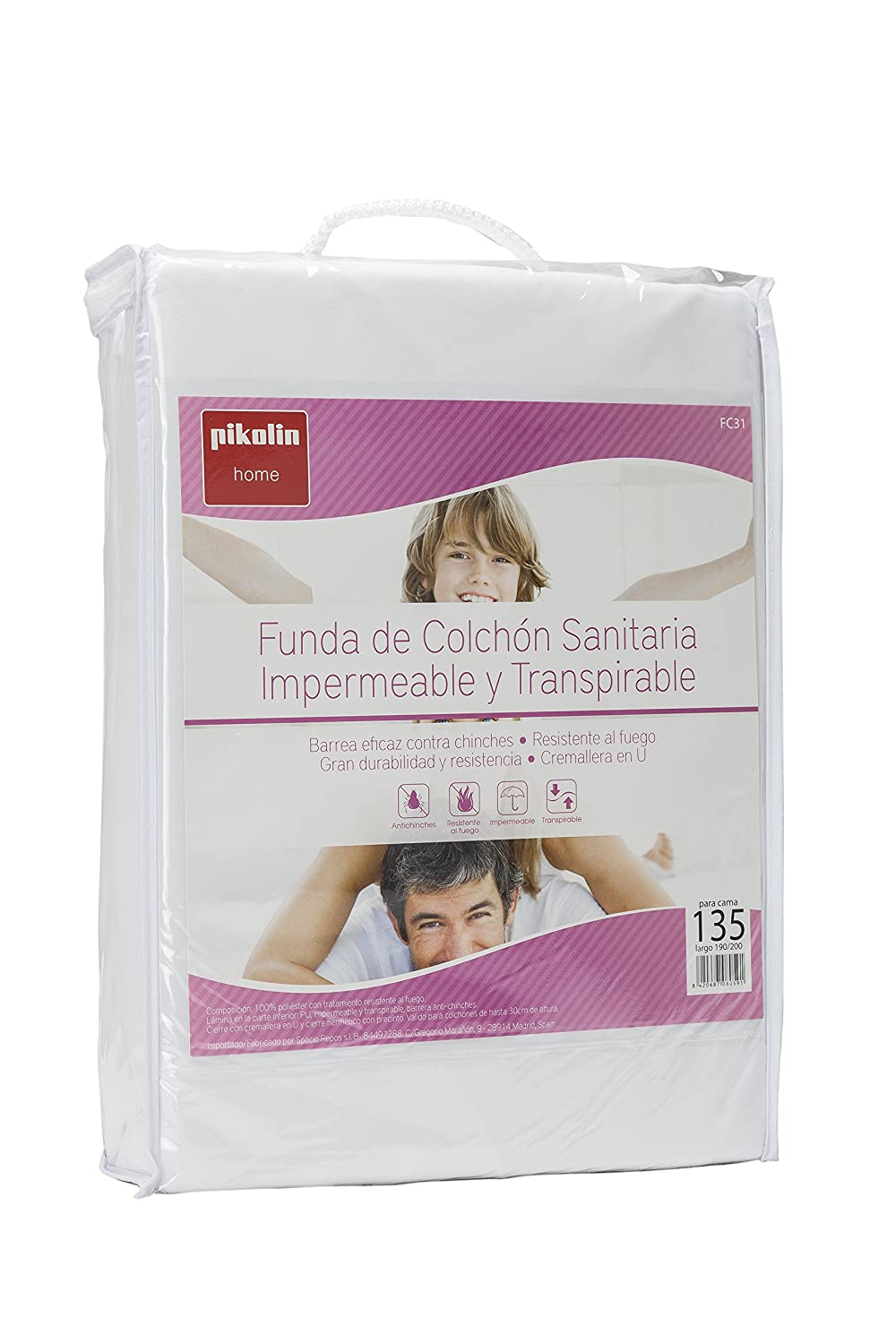 Pikolin Home - Funda de colchón antichinches, impermeable, transpirable e ignifuga, 150 x 190/200 cm, cama 150 (Todas las medidas): Amazon.es: Hogar