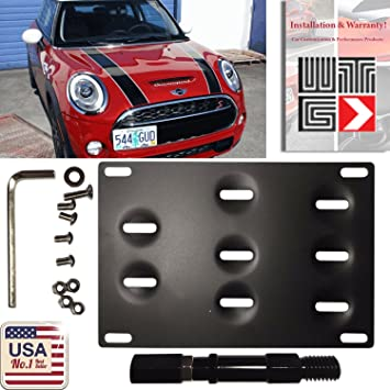 JGR No Drill Tow Eye Front Bumper Tow Hook License Plate Mount Bracket Holder Adapter Relocation Kit for Mini Cooper S Countryman Peaceman R60 R61 F55 F56 2014-present