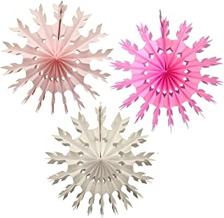 product image for 3-Piece 15 Inch Tissue Paper Snowflake Decorations - Pink Baby Shower Mix