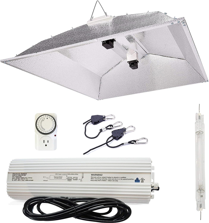 Indoor Growth DE HPS Light Kit 1000W Digital Ballast Large Adjust Wing Reflector