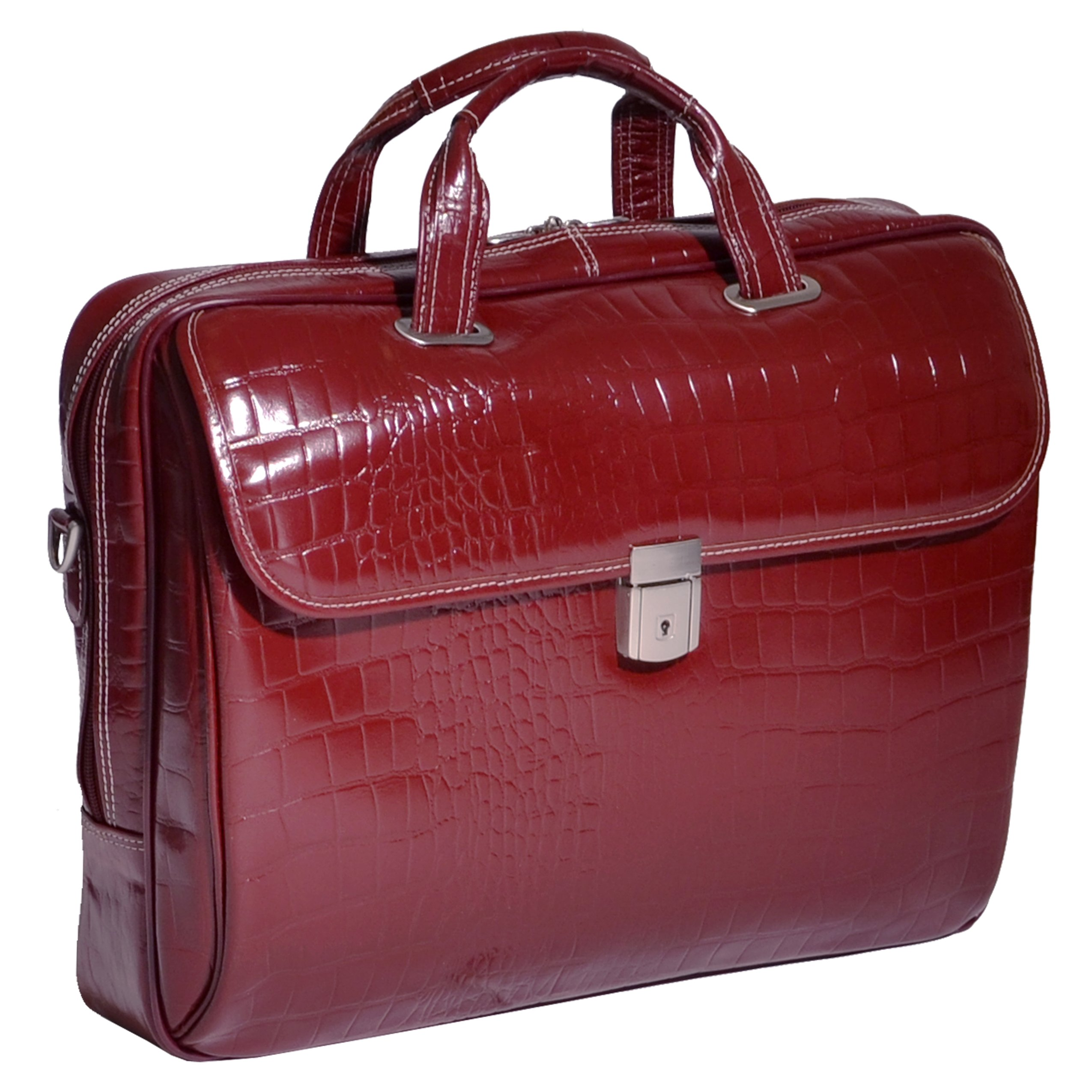 Siamod IGNOTO Leather Large Ladies' 17'' Business Bag Laptop Briefcase in Red