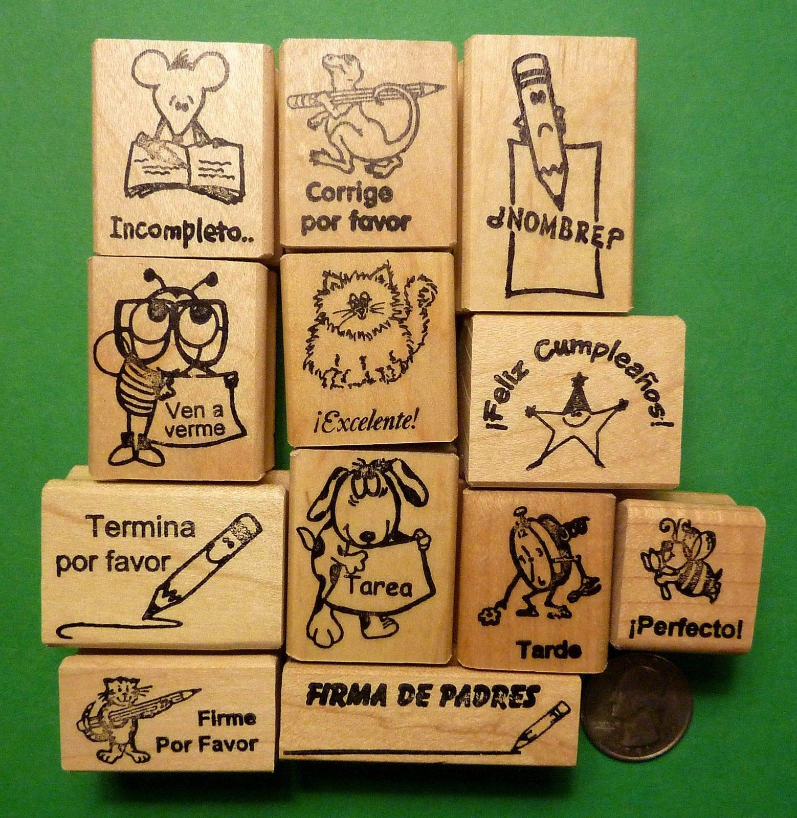 Quality Custom Rubber Stamps Teacher Spanish-Only Rubber Stamp Assortment of 12, Wood Mounted Carved Wooden Stamps