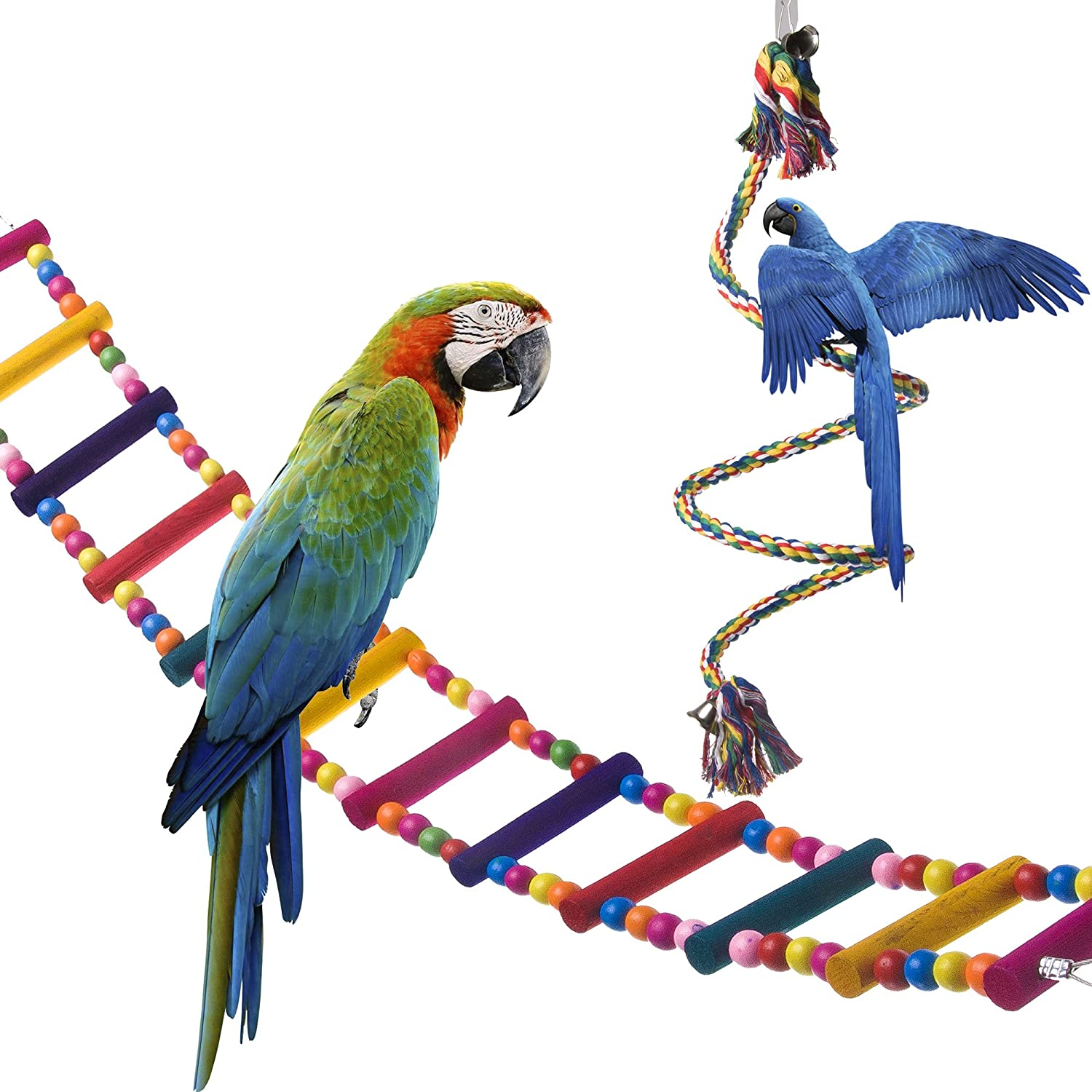(Ladder+Rope) OnePlus Bird Ladder Parred Toys Cage Accessories for Cockatiel Conure Parakeet Small Macaw