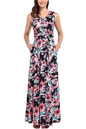 Comila Women\u0027s Summer V Neck Floral Maxi Dress Casual Long Dresses with  Pockets