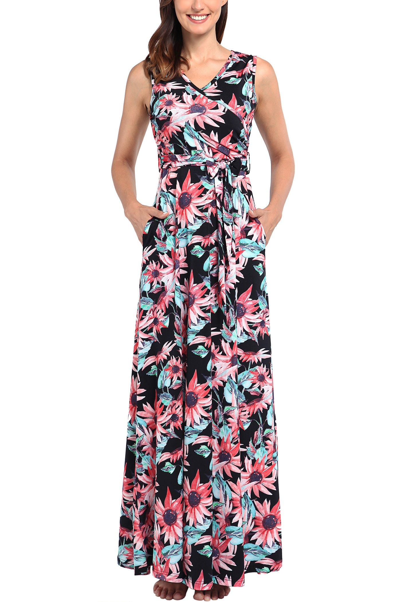 Comila Summer Dress for Women, Vintage Floral Printed Sexy Warp V Neck Loose Plain Maxi Dress with Pockets Elegant Beach Party Casual Long Dresses Multicolored S(US4-6)