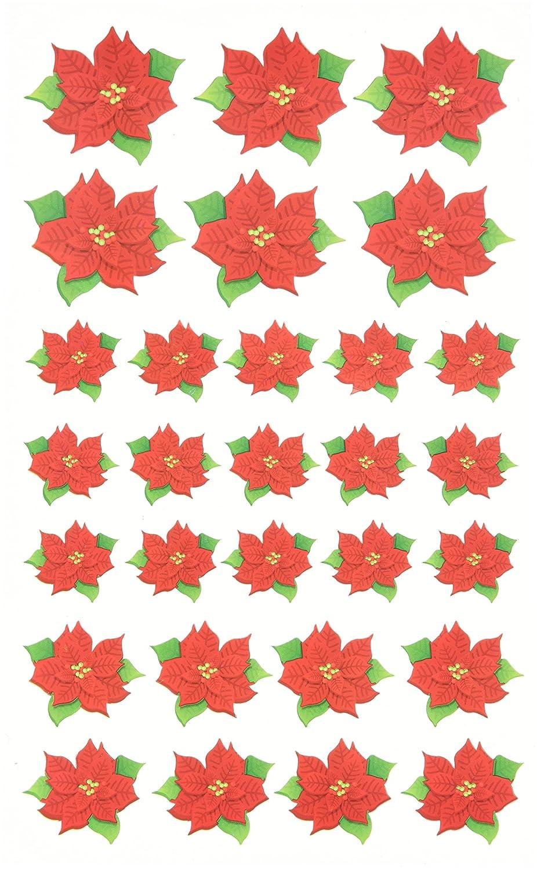Assorted Size Poinsettia Stickers 1214-55 Darice Stickerz,29 Piece