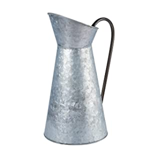 Galvanized Vase - Silver Metal Vase Pitcher with Handle, Vintage Jug Watering Can, Farmhouse Style Decor for Home, Garden, 12 Inches Tall