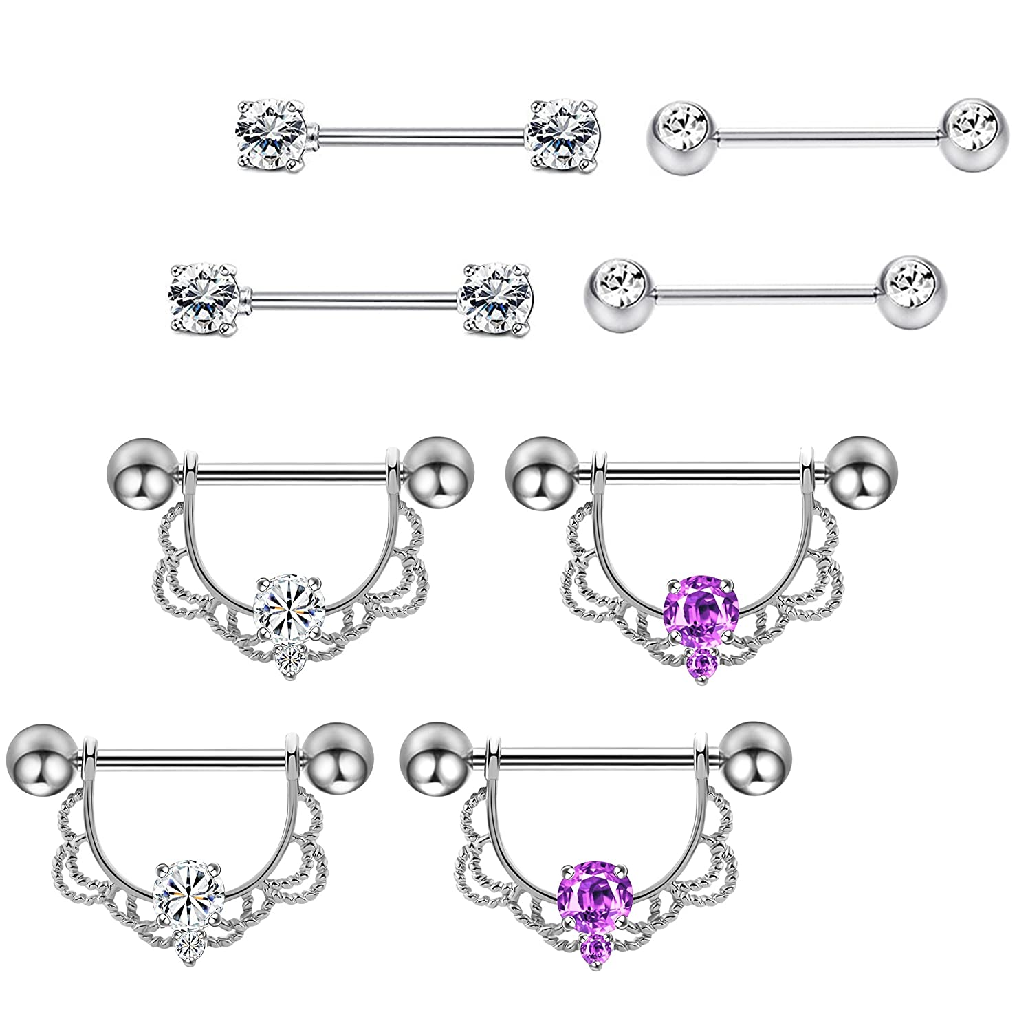 Masedy 2-4 Pairs 14G 316L Stainless Steel Nipplerings Nipple Tongue Rings Barball CZ Body Piercing Masedy-AP02-Silver