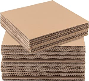 ZOENHOU 30 PCS 12 x 12 x 1/4 Inch Corrugated Cardboard Sheets, 5 Layer Single Wall Cardboard Inserts, Flat Cardboard Squares Separators, Packing Paper Sheets for Mailing, DIY Crafts, Art Projects
