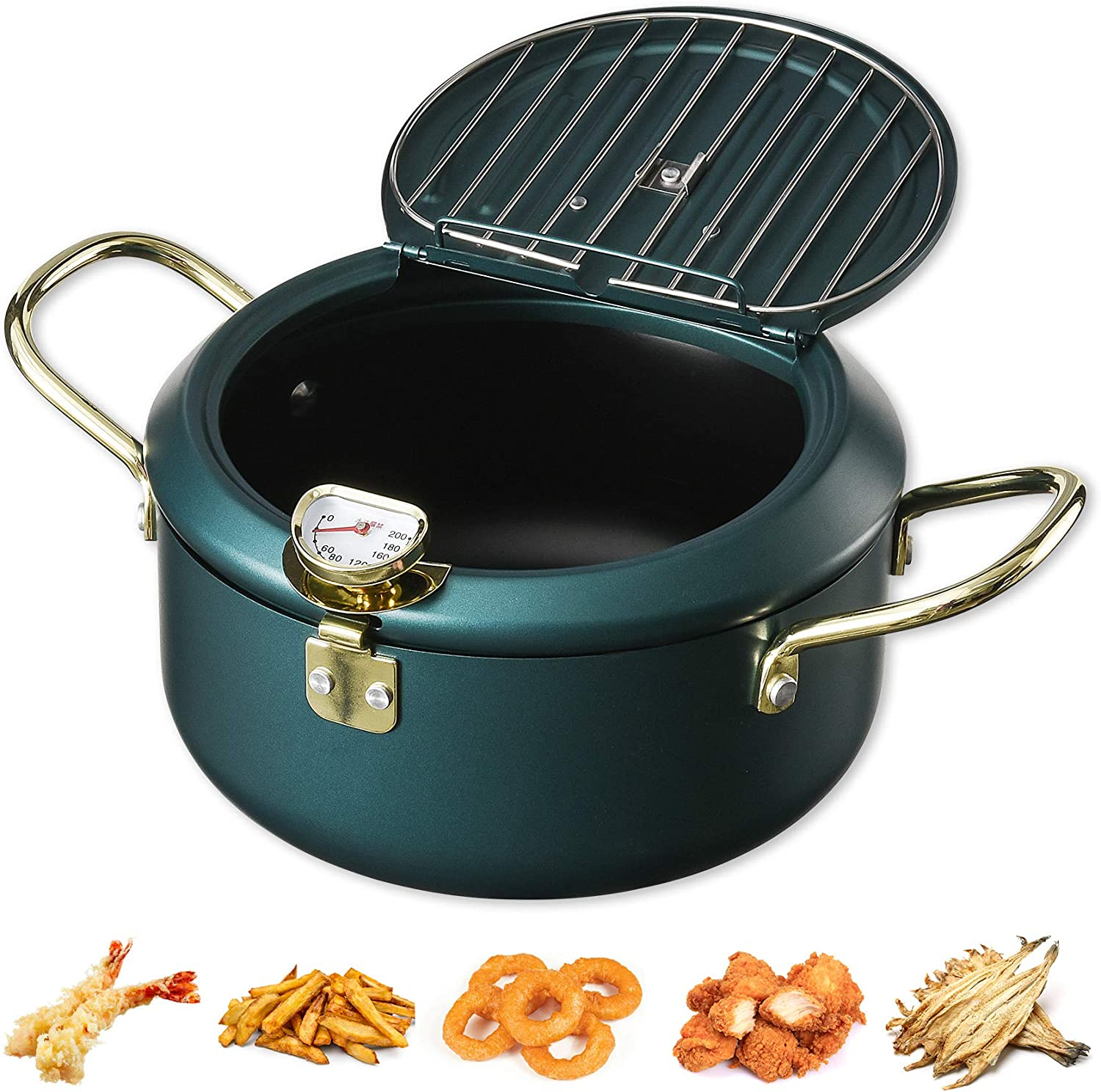 Upgrade Tempura Deep Fryer Pot With Thermometer And Oil Drip Rack Lid for Chicken French Fries Fish and Shrimp Oil Frying Pan (Dark Green(~ 2600ml))