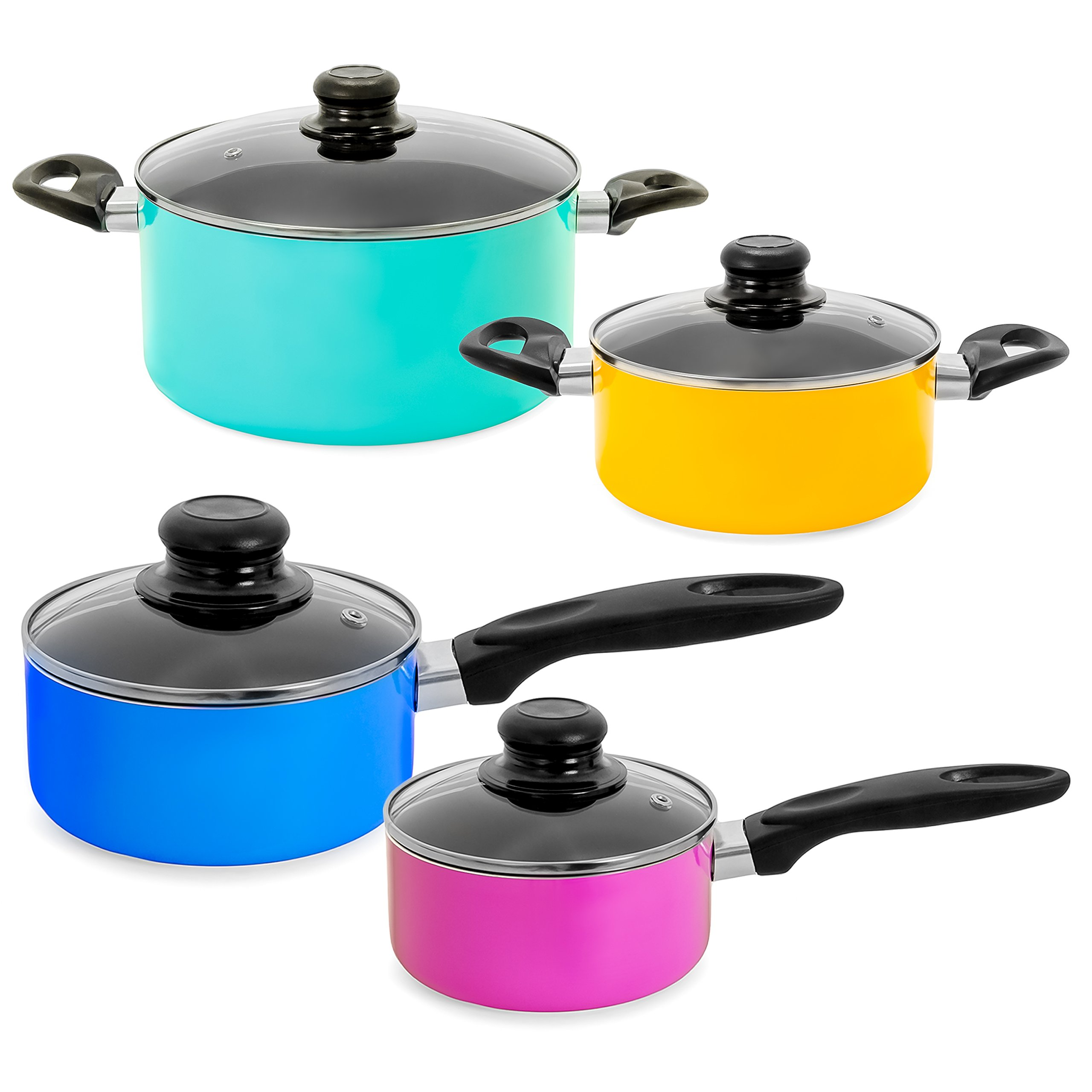 Best Choice Products 15-Piece Nonstick Cookware Kitchen Set w/ 4 Pots, 4 Lids, 2 Pans, 5 BPA Free Utensils - Multicolor by Best Choice Products (Image #5)