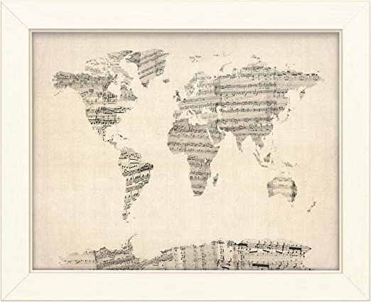 sheet music world map Amazon Com Trademark Fine Art Old Sheet Music World Map By