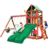 Gorilla Playsets 01-1057 Playmaker Deluxe Wooden Swing Set with Vinyl Canopy Roof, Dual Wave Slides, and Rock Climbing Wall,