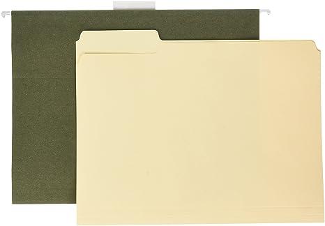Ampad presentación Combo Kit, 25 carpetas Manila y 25 verde carpetas de archivo colgantes,