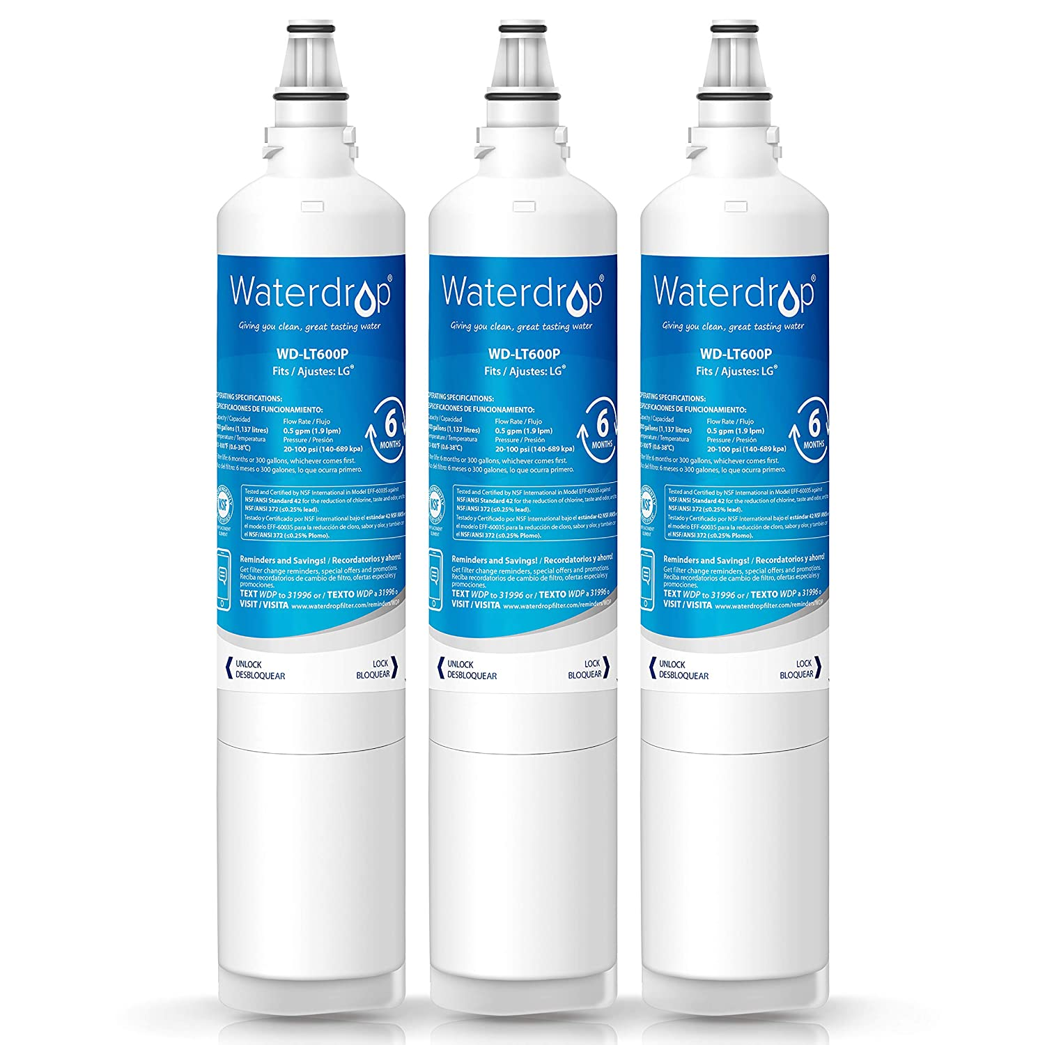 Waterdrop Refrigerator Water Filter, Compatible with LG LT600P, 5231JA2006A, 5231JA2006B, Kenmore 46-9990, 9990, 469990, Standard, Pack of 3