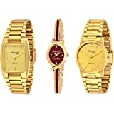 Imperial Club Combo Pack of 3 Golden Colour Analog Watches for Men and Women (wcm-006)