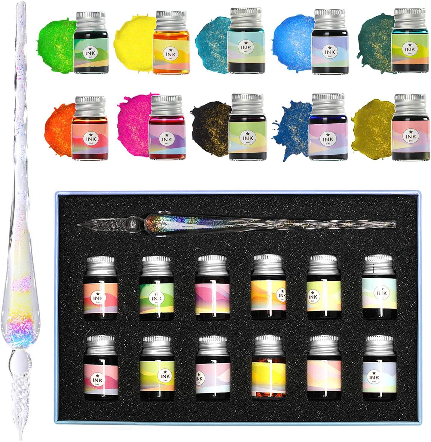 Kristall-Sternenhimmel Glas Ink Pen Glas Dip Pen Writing Fountain Pen-Set