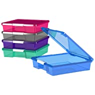 """Storex 12 x 12"""" Stack and Store Box, Assorted Colors, Case of 5 (63202U05C)"""