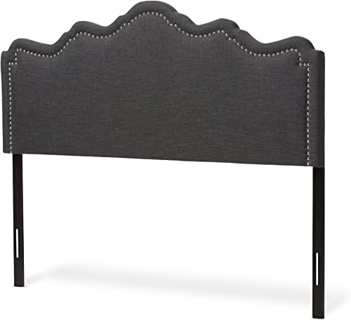 Baxton Studio Noelle Modern and Contemporary Dark Grey Fabric Queen Size Headboard