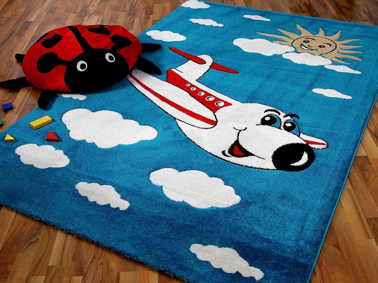 Teppich kinderzimmer blau  Kinder Spiel Teppich Fantasy KIDS Flugzeug Blau Grün Rot in 2 ...